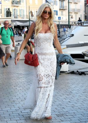 Victoria Silvstedt in Long White Dress out in Saint Tropez