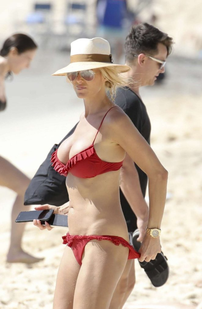 Victoria Silvstedt in Red Bikini 2018 -05