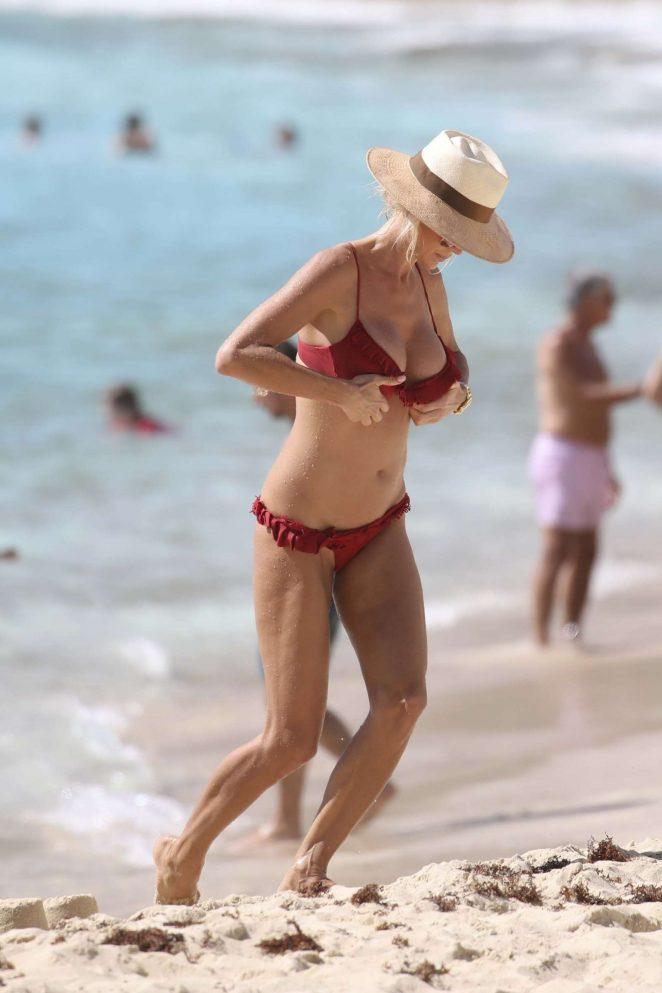 Victoria Silvstedt in Red Bikini 2018 -06