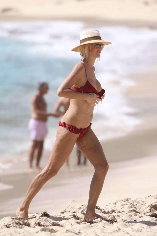Victoria Silvstedt in Red Bikini 2018 -07