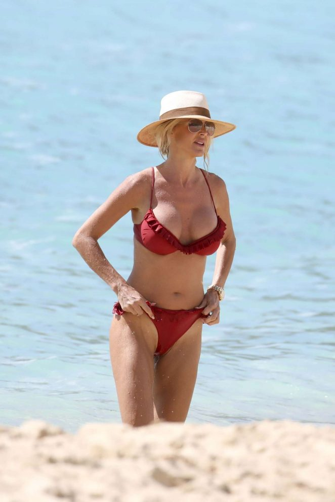 Victoria Silvstedt in Red Bikini on the beach in St Barts