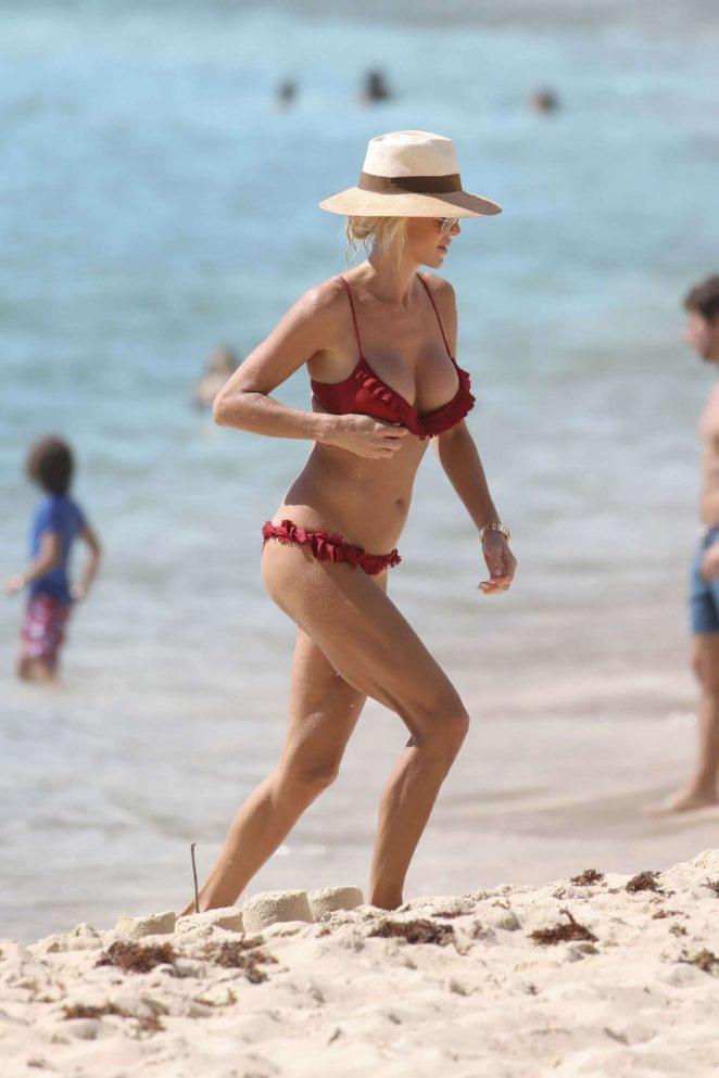 Victoria Silvstedt in Red Bikini 2018 -10