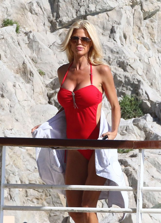 Victoria Silvstedt in Red Swimsuit in Cannes