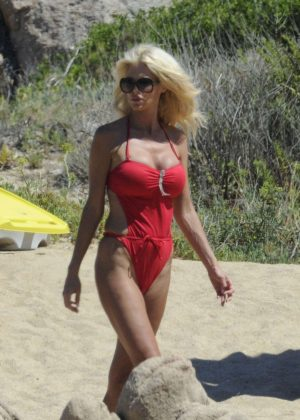 Victoria Silvstedt in Red Swimsuit in Sardinia