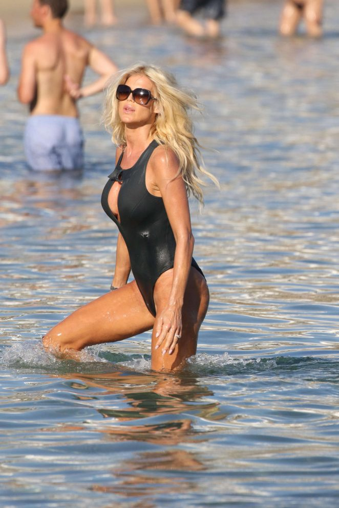 Victoria Silvstedt in Swimsuit on the Beach in Mykonos