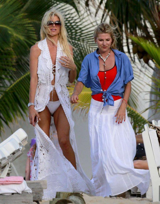 Victoria Silvstedt in White Bikini in St Barts