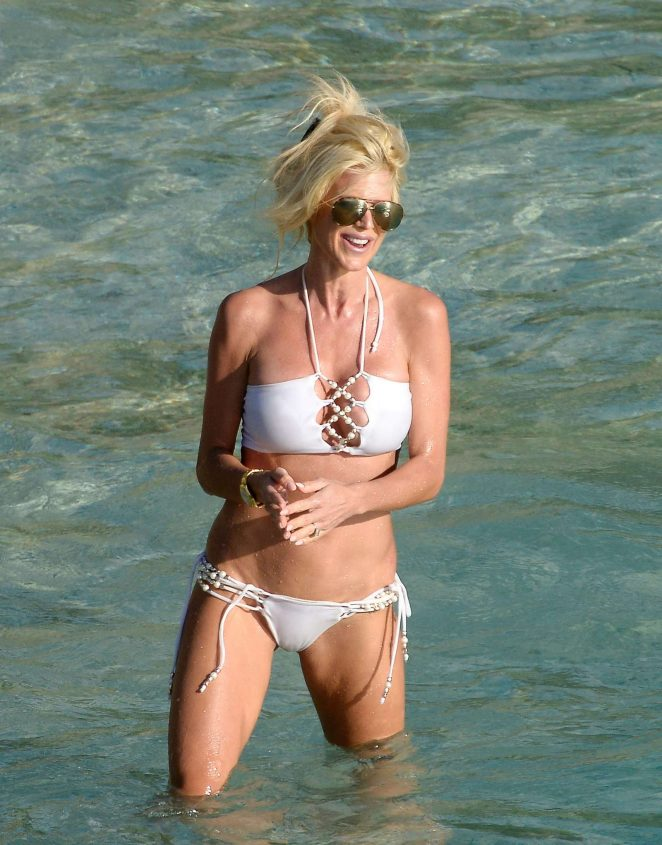 Victoria Silvstedt in White Bikini on the beach of St. Barts