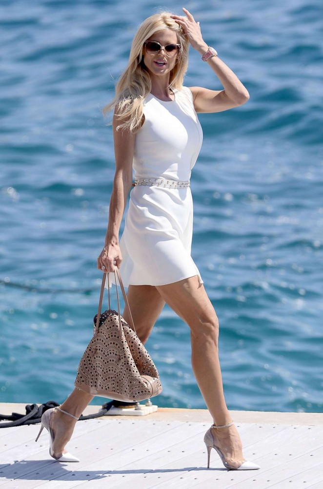 Victoria Silvstedt in White Dress in Cannes
