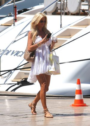 Victoria Silvstedt in White Mini Dress in St Tropez