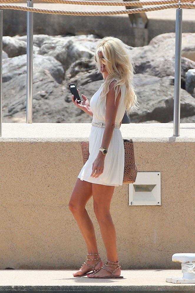Victoria Silvstedt in White Mini Dress out in Monaco