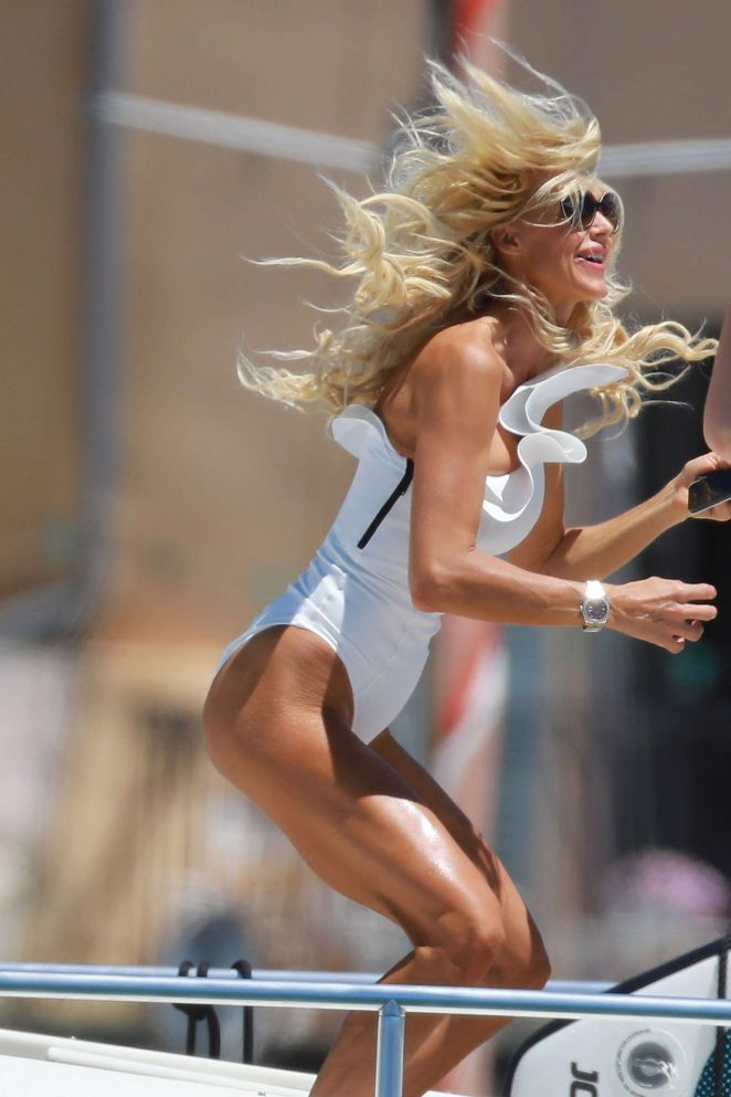 Victoria Silvstedt in White Swimsuit in Saint Tropez