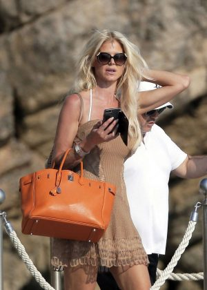 Victoria Silvstedt Leaves at Hotel Du Cap Eden Roc in Antibes
