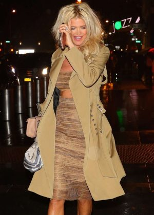 Victoria Silvstedt in Beige Outfit Night Out in New York