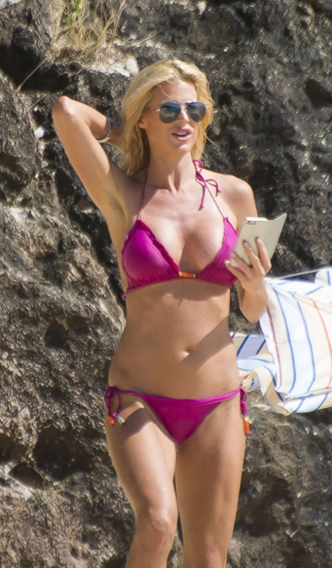 Victoria Silvstedt in Pink Bikini in Saint-Barthelemy