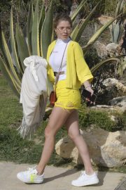 Victoria Swarovski in Yellow Shorts - With husband on holiday in Marbella