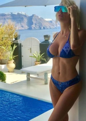 Victoria Xipolitakis in Blue Bikini at the pool in Santorini