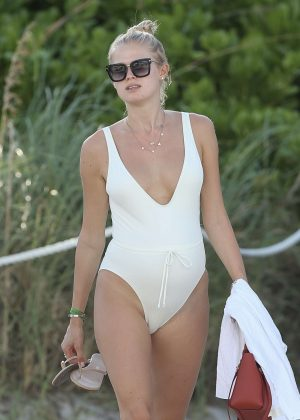 Vita Sidorkina in White Swimsuit on Miami Beach