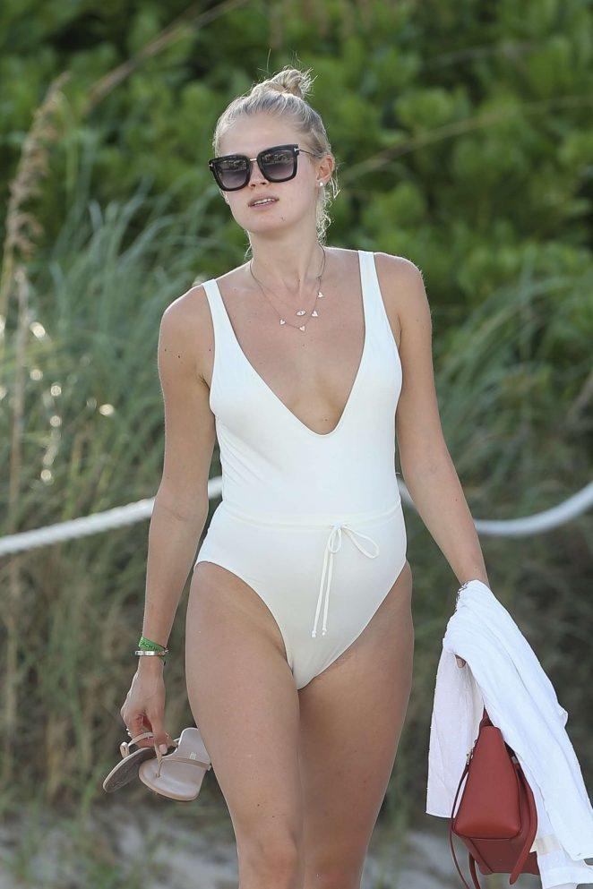 Vita Sidorkina in White Swimsuit on Miami Beach