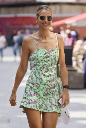 Vogue Williams - In a green summer mini dress seen leaving Global Radio Studios in London