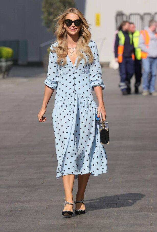 Vogue Williams - In a light blue polka dot dress