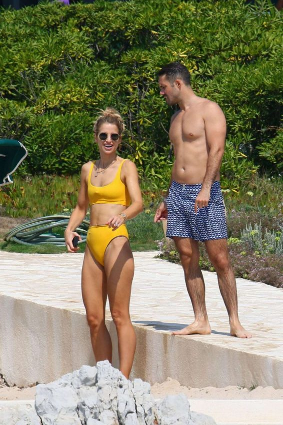 Vogue Williams in a yellow bikini in the South of France