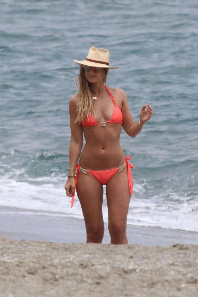 Vogue Williams in Bikini on the beach in Marbella