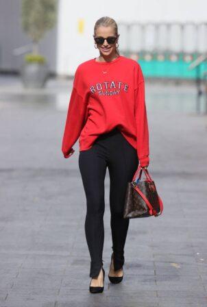 Vogue Williams - in black leggings at Heart radio in London