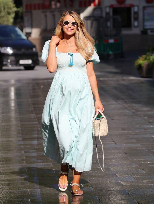 Vogue Williams in Blue Flowing Dress - Exits Heart radio in London