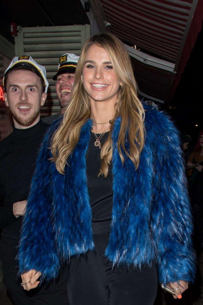Vogue Williams in Blue Fur Coat at Bunga Bunga Restaurant in London