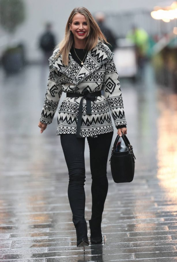Vogue Williams - In geometric print jacket and denim trousers at Heart radio