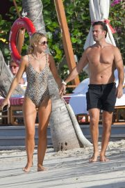 Vogue Williams in Leopard Print Swimsuit at a beach in St Barts