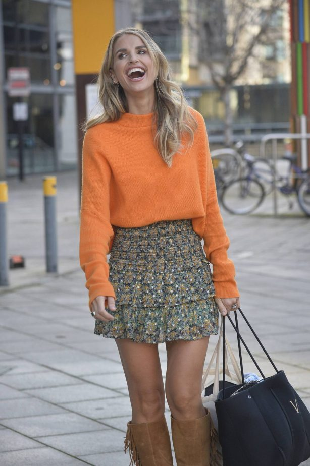 Vogue Williams - In mini skirt leaving set of Steph's Packed lunch in Leeds