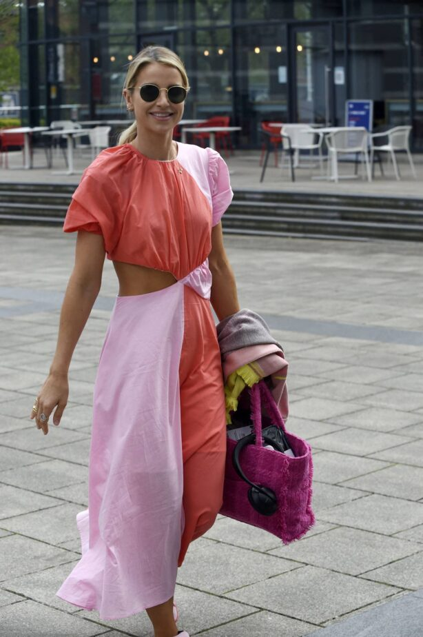 Vogue Williams - In pink dress arriving for Steph's Packed Lunch in Leeds