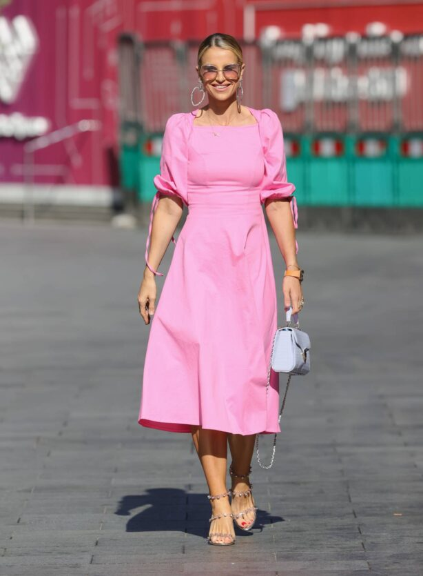 Vogue Williams - In pink dress at Heart radio in London