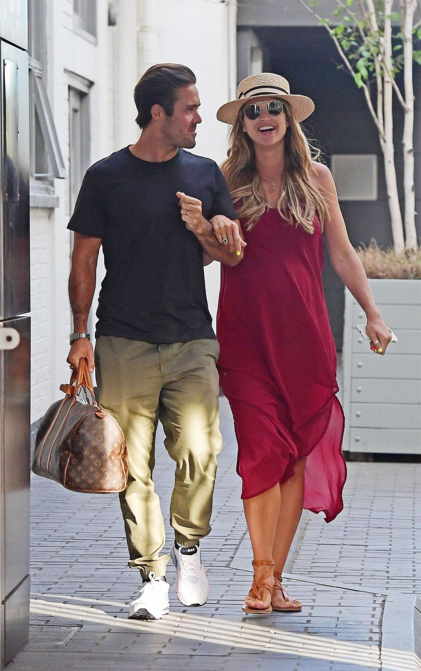 Vogue Williams in Red Dress with Spencer Matthews out in Chelsea Harbour