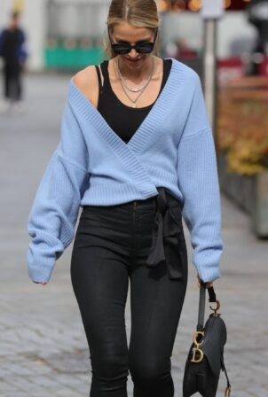 Vogue Williams - In tight pants and blue cardigan at Heart radio in London