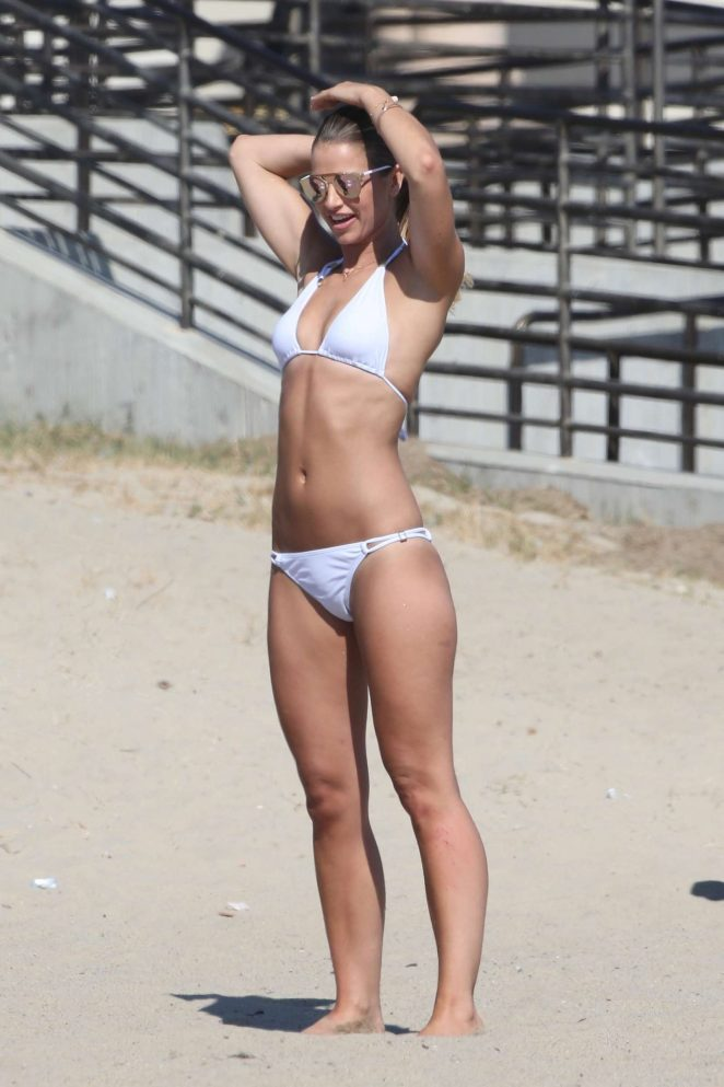 Vogue Williams in White Bikini at the beach in LA