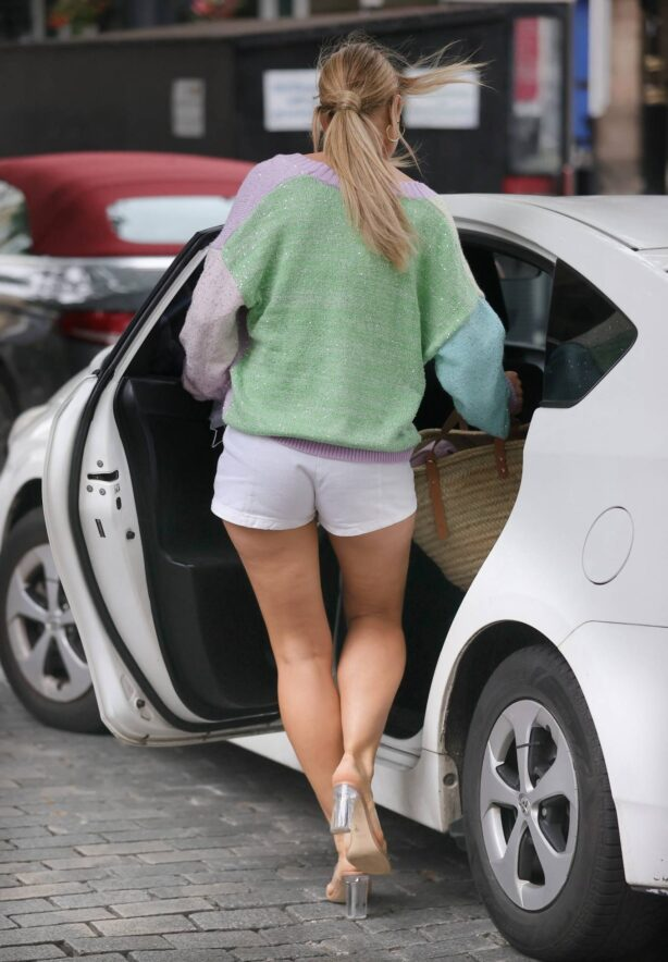 Vogue Williams - In white daisy duke hot-pants at Heart radio in London
