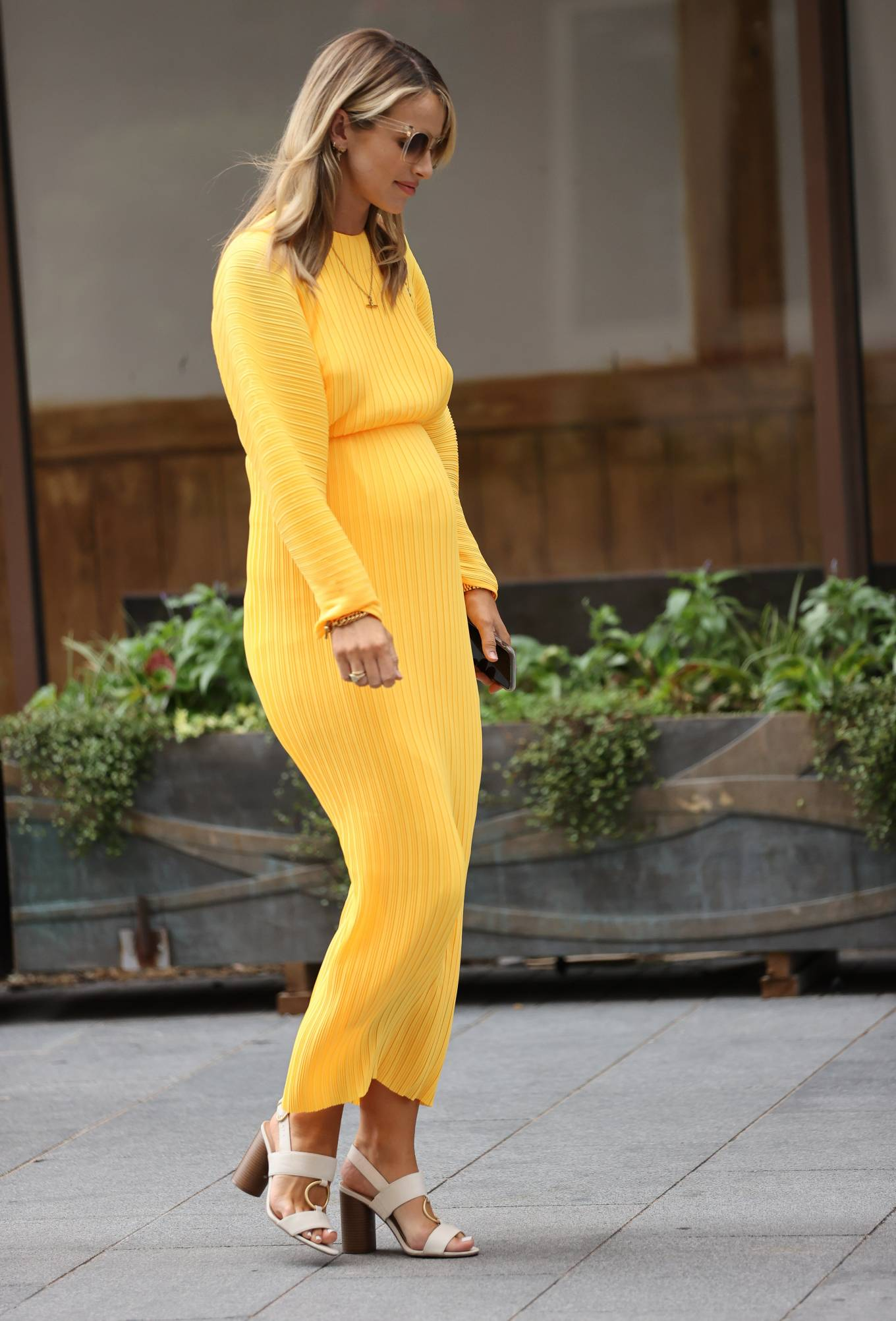 Vogue Williams 2020 : Vogue Williams in Yellow Dress – Out in London-02