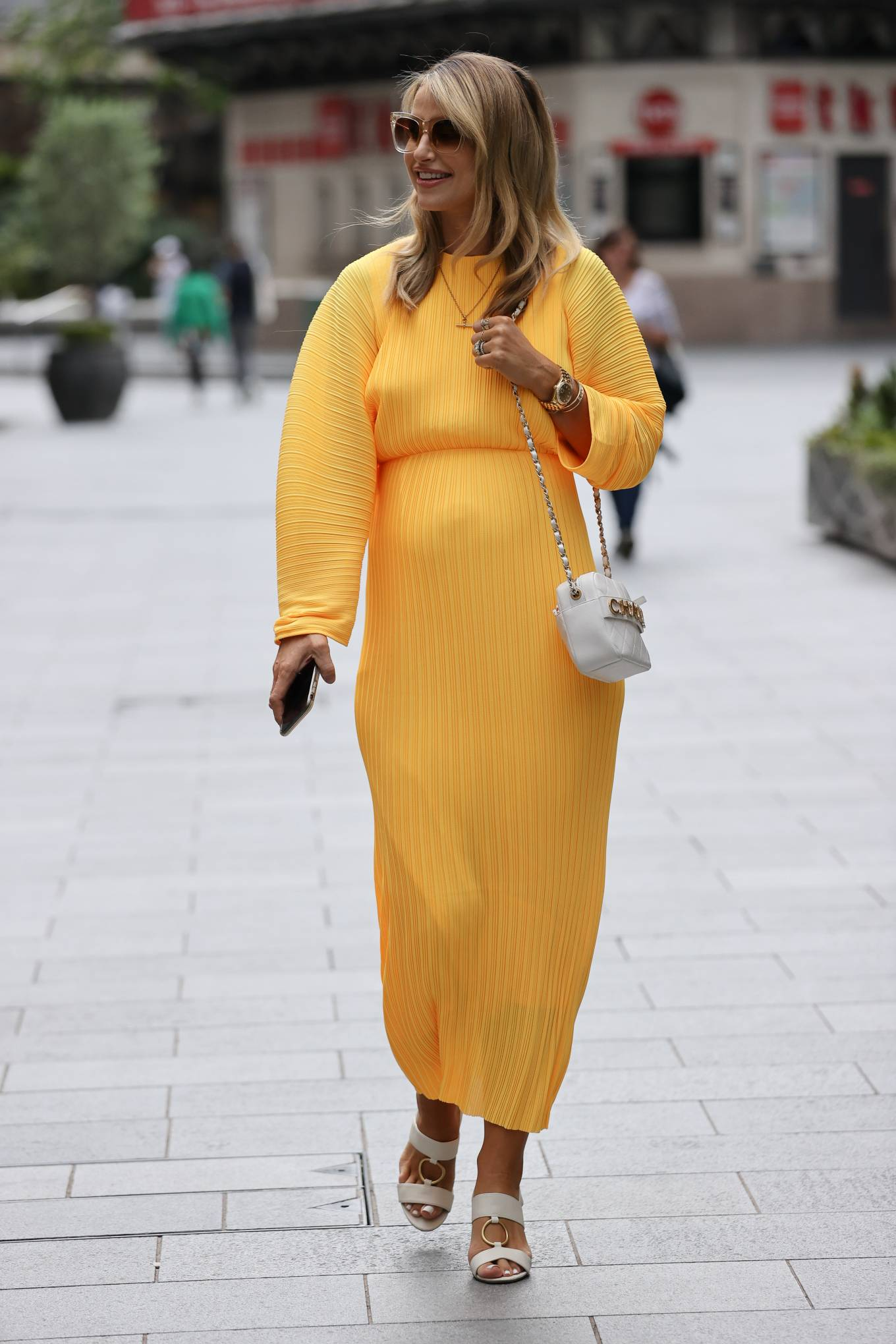 Vogue Williams in Yellow Dress - Out in London
