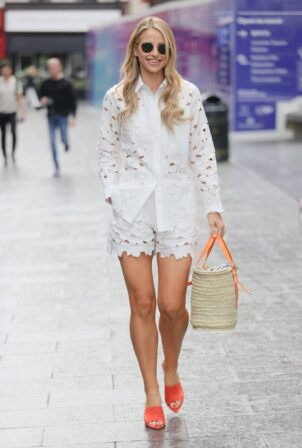 Vogue Williams - Looks sensational in a white top and matching shorts in London