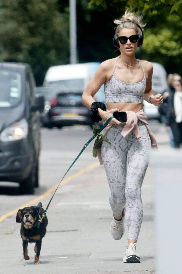 Vogue Williams - Out for a jog with dog in Chelsea