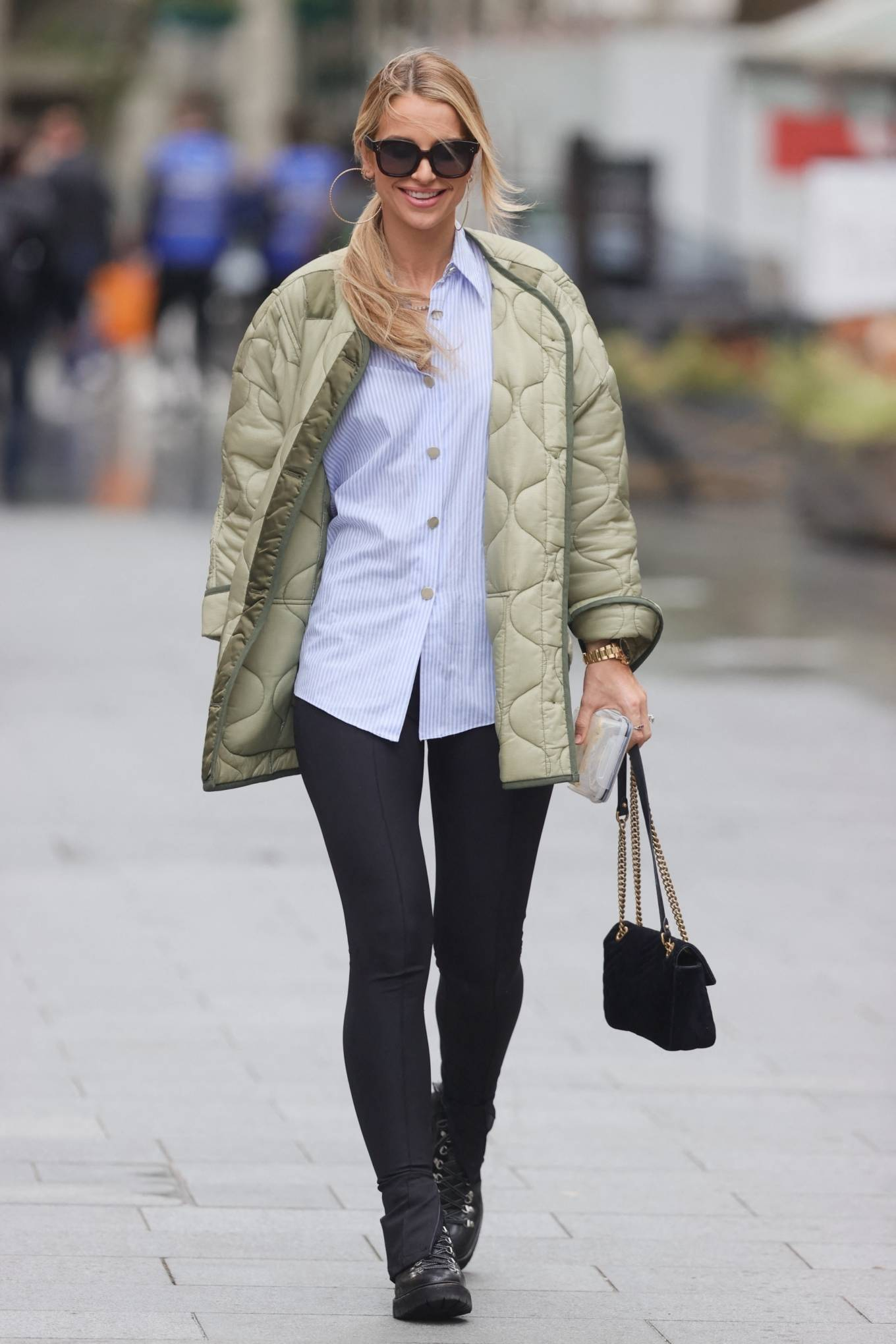 Vogue Williams - Seen at Global Offices in black leggings in London