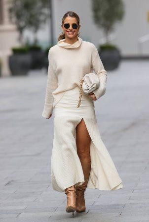 Vogue Williams - Seen in high split cream skirt in London