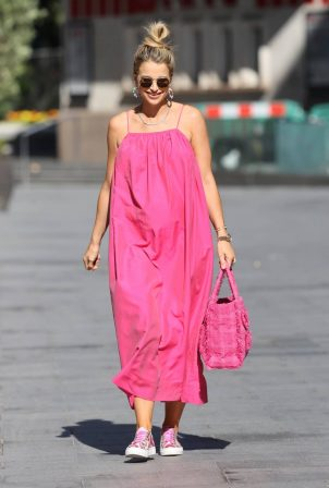 Vogue Williams - Wearing a pink floaty dress in London