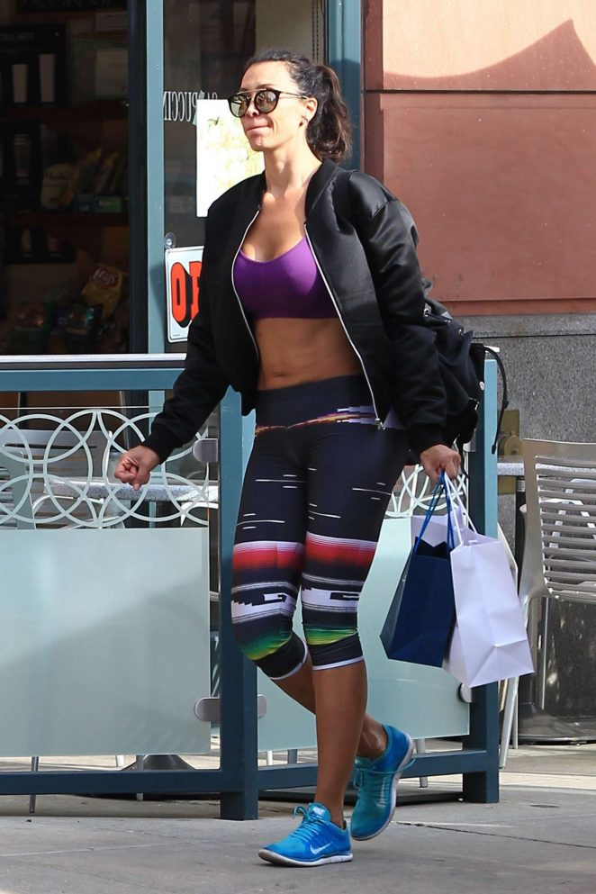 Whitney Cummings in Tights and Sports Bra out in Beverly Hills