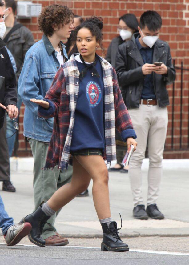Whitney Peak - Filming 'Gossip Girl' in New York