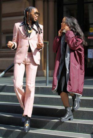 Whitney Peak - In pink at set of 'Gossip Girl' in New York