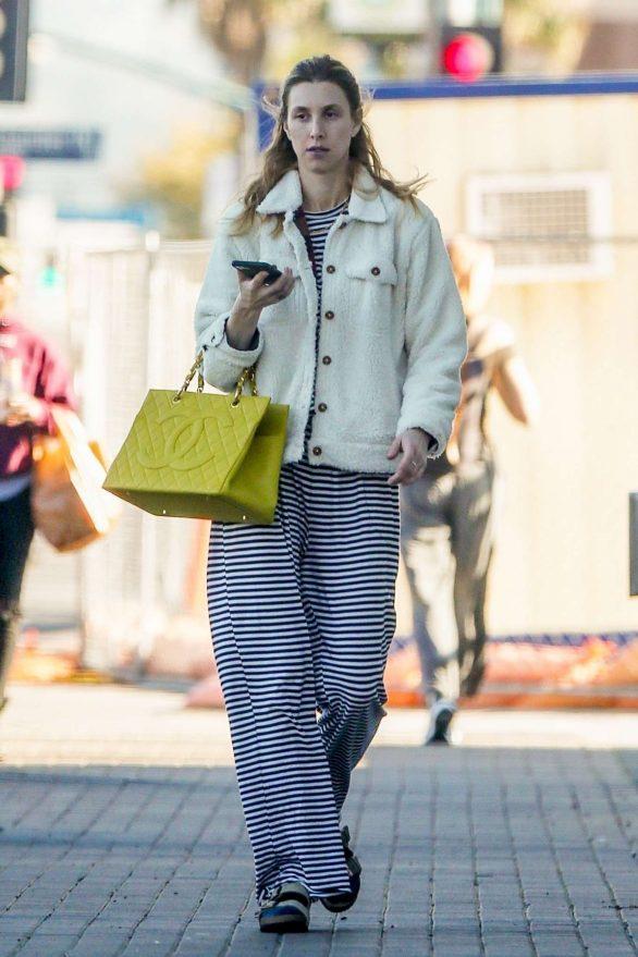 Whitney Port - in Berkenstock sandals and socks on Valentine's Day