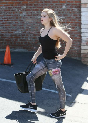 Willow Shields in Tights at DWTS Rehearsal Studio -12